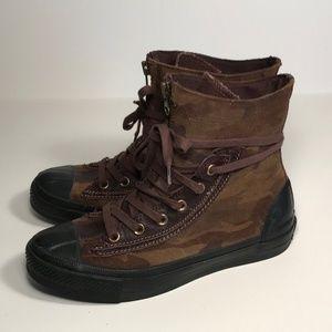 Converse Camo Zipper Combat Boots Women 8